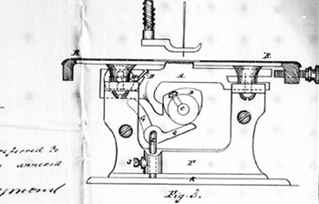 Page from C. Raymond's 1872 patent, IMPROVEMENTS IN SEWING MACHINES; 7 pages