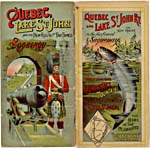 Brochure of the Quebec & Lake St. John Railway, 1906, with colour illustrations of a soldier and a salmon