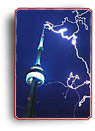 Photograph of the CN Tower being struck by lightning