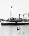 Photograph of the steamer ISLANDER starting for the Klondike gold fields from Victoria, British Columbia, 1897