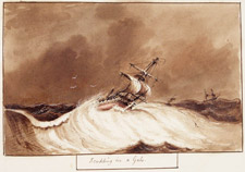 Illustration entitled SCUDDING IN A GALE