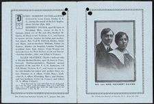 Memorial card, January 1919; 3 pages. Herbert and Ellen Davies were among the victims of the SOPHIA wreck