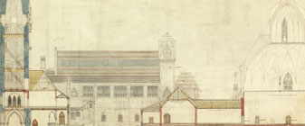 Architectural drawing of the Centre Block and Library of Parliament, 1859
