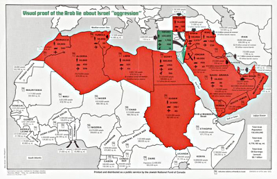 Image of a map entitled The Arab Lie about Israel, 1973