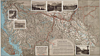Image of a map entitled Triangle Tour of British Columbia, ca. 1927
