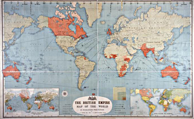 Image of a map entitled The British Empire, 1893