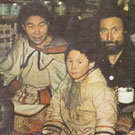 Photograph of Ujaralaaq, Mark Tutat, Amimiarjuk, Arraq Qulitalik, Valentine Auqsaaq and Tarqtaq, taken at an unknown location in Nunavut, circa 1952. The people in this photograph were identified by Elder Louis Uttak during his research at Library and Archives Canada, Ottawa, October 2005