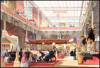 Painting of the Canadian exhibit at the London World Fair, 1851