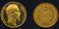 Photograph of Logan's gold medal from the 1855 Paris exhibition
