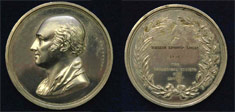 Photograph of Logan's 1856 Wollaston Medal, back and front