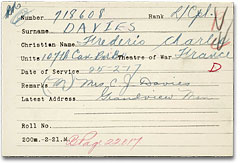 First World War Medal Card. Library and Archives Canada, RG 150, accession 1992-93/166, box 2340-35