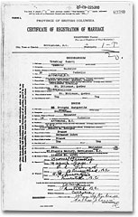 Enregistrement civil du mariage de Samuel Tremblay, 29 mars 1920.Collection privée