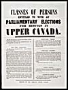 Notice describing the CLASSES OF PERSONS ENTITLED TO VOTE AT PARLIAMENTARY ELECTIONS FOR RIDINGS IN UPPER CANADA, printed after 1855