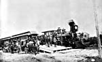 Photograph of the first Canadian Pacific Railway train from the Atlantic to the Pacific, June�30,�1886