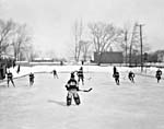 Photograph of a Montreal Canadians outdoor hockey practice, Montréal, Quebec
