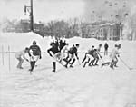 Photograph of an outdoor hockey game at McGill University, Montréal, Quebec, 1904