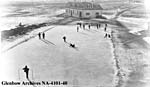 Photograph of an outdoor hockey game at Washakada Industrial School, Elkhorn, Manitoba