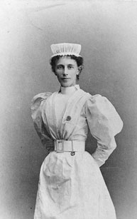 Portrait of a nurse in uniform.