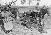 Photograph of members of Blackfoot tribe, migrating, ca. 1886