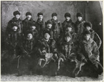 Photograph of NWMP in winter coats, Town Station, Dawson, Yukon Territory, probably after 1900