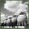 View of Horton Spheres storing butadiene and styrene, two chief ingredients of buna-S synthetic rubber at the Polymer Corporation plant