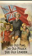 Colour poster with an illustration of a farmer and worker holding Sir John A. Macdonald aloft on their locked arms. Sir John is holding up a British ensign flag. Title at bottom
