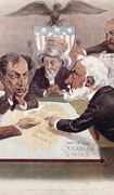 "Colour poster with illustration of six men in discussion around a table on which lies a map labelled the ""Canadian States."" Title at top"