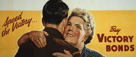 Colour poster with illustration of an older woman hugging a Canadian soldier, on a bright yellow background. Title in red split between left and right