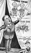 Black-and-white poster with caricature of William Lyon Mackenzie King on a stage enticing a crowd to see a show under a circus tent. Title at top and text at bottom