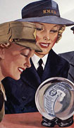 Colour poster with illustration of four women in various uniforms looking at a crystal ball with a victory bond in it. Title and text at bottom