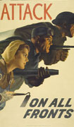 Colour poster with illustration of a male soldier and factory worker and a female farm worker, in a lunging position holding a gun, an industrial tool and a hoe respectively. Title split between top and bottom