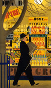 Colour poster with illustration of a man walking past a grocer's window stocked with goods from across the Empire. At right, people are entering the store.