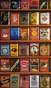 Colour poster with six rows of various tobacco tins. The tins have different colours, typography and design
