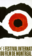 Colour poster with illustration resembling an eye in black and red on white. Title and date at bottom