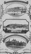 Black-and-white souvenir poster featuring a number of vignettes of different portraits and city views. Title at top, additional text at bottom