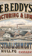Colour poster with illustration at centre of a lumber mill and surrounding buildings. Each corner has an illustration of a part of the property. Company name at top, location at bottom