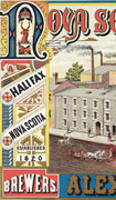 Colour poster with illustration of a three story, stone building. Brewery's name at top, owner's name at bottom. Text and ornamentation at left