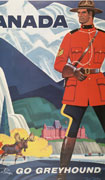 Colour poster with illustration of a Mountie in the foreground at right. Mountains, a forest, river, bears, moose, mountain goat, a hotel on a hill, and men fishing from a canoe are in background. Title at top, company name at bottom