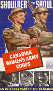 Colour poster with illustration of a female and male soldier marching together. Inset at bottom: four black-and-white photographs of enlisted women at work. Title at top, text at centre and bottom