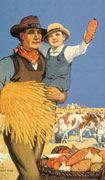 Colour poster with illustration of a farmer standing beside a basket of vegetables. He is carrying a young boy in his left arm and a bushel of wheat under his right arm with cows, pigs and chickens in background. Title at top, text at bottom