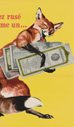 Colour poster with illustration of a winking fox holding victory bonds in its arms. Title at top in red on bright yellow background, text in yellow at bottom on black background