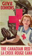 Colour poster with illustration of a nurse with outstretched hands. A red cross, in the background, is superimposed over three figures: a praying elderly woman, a soldier and a man with a bandaged head. Text in red at top and bottom