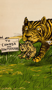Colour poster with illustration of a tiger carrying its cub and walking past a sign pointing to Canada. Title in black on beige background at bottom