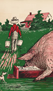 "Colour poster with an illustration in black, green and red of a large pig labelled ""United States trusts"" eating at a trough while blocking a smaller pig labelled ""Canadian interests"" from eating. Title in black at bottom"