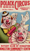 Colour poster with illustration of three circus clowns. One is tthrowing firecrackers. Title at top, text at bottom, in red on cream-coloured paper