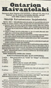 Broadside printed in blackon white paper with text in different sizes and fonts in Finnish. Title at top