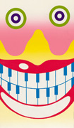 Colour poster with an illustration of a grinning face with exaggerated eyes, red lips and teeth resembling piano keys. Title along the edge and bottom