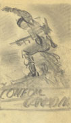 Rough pencil sketch on white paper of a soldier climbing over an embankment waving his arm for others to follow. Title at the bottom