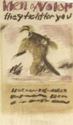 Pastel sketch in green, black and brown of a soldier running. Title at top, text at bottom