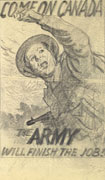 Detailed pencil sketch on white paper of a soldier in fatigues holding a machine gun and waving an arm for others to follow him. Title split between top and bottom